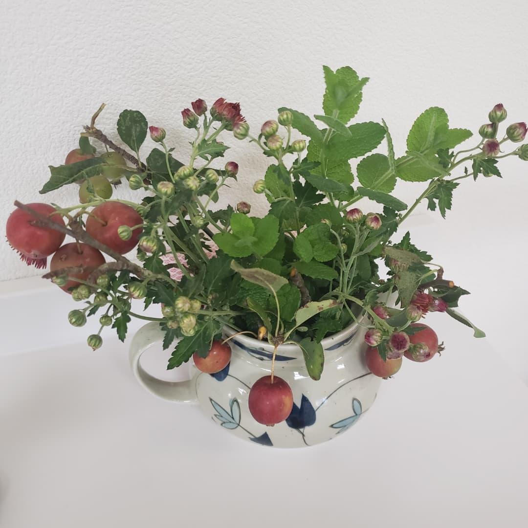 姫リンゴ  施設内園庭で実った姫リンゴを飾ってみました秋の訪れを皆さんに#ウエルハイムヨコゼ #特養の日常  #横瀬町  #秩父